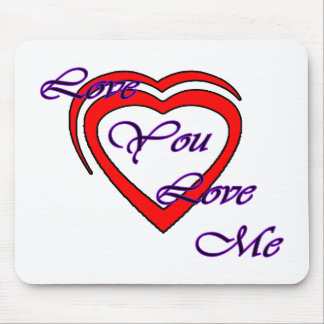 Love You Love Me Purple Hearts Red The MUSEUM Zazz Mouse Pad