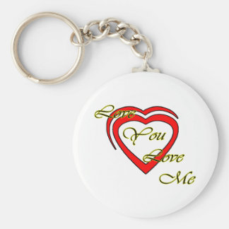 Love You Love Me Yellow Hearts Red The MUSEUM Zazz Basic Round Button Keychain