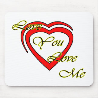 Love You Love Me Yellow Hearts Red The MUSEUM Zazz Mouse Pad