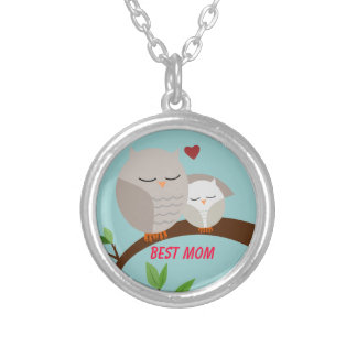 Love You Mom and Baby Owl in Browns Round Pendant Necklace