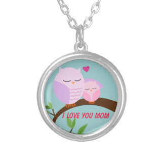 Love You Mom and Baby Owl in Pink Round Pendant Necklace