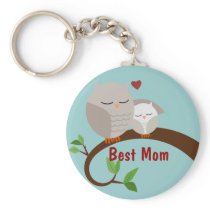 Love You Mom and Baby Owls Brown Keychain