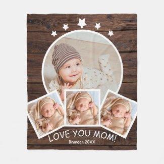 Love You Mom Baby Child Photo Collage Fleece Blanket