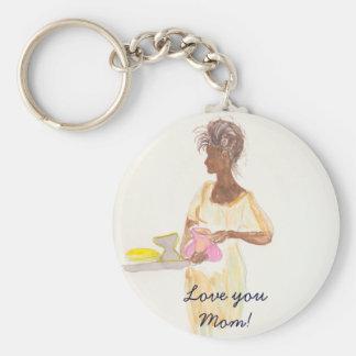 Love You Mom Basic Round Button Keychain