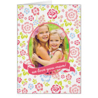 Love you Mom Floral Personalized Custom Photo Cards