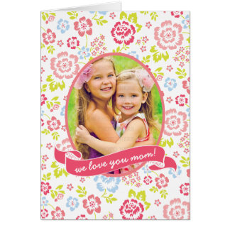 Love you Mom Floral Personalized Custom Photo Card