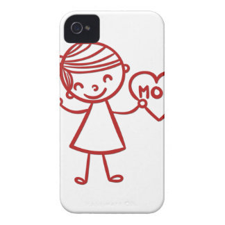 Love you mom girl with heart Case-Mate iPhone 4 case