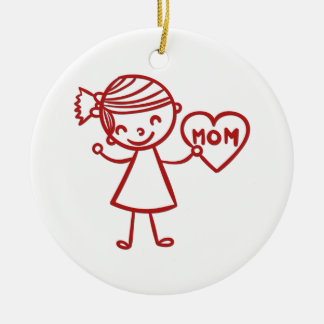 Love you mom girl with heart ceramic ornament