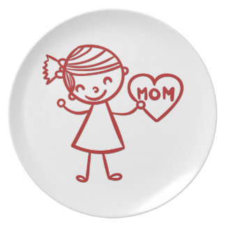 Love you mom girl with heart dinner plate