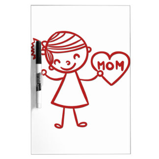 Love you mom girl with heart dry erase board