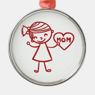 Love you mom girl with heart metal ornament