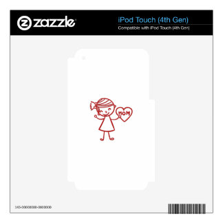 Love you mom girl with heart skins for iPod touch 4G