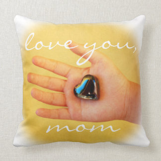 """""""Love you, Mom"""" hand & heart photography pillow"""