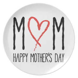 love you mom, happy mother's day dinner plate