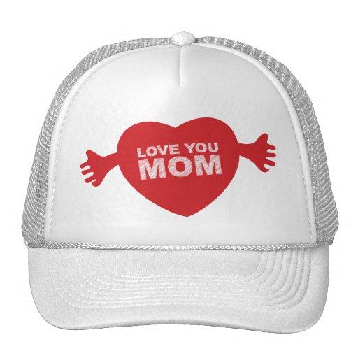 Love you Mom Heart Trucker Hat