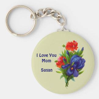 Love You Mom Iris Flower Customizable Keychain
