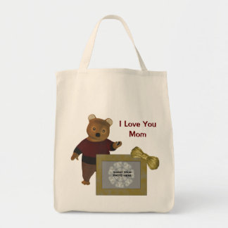 Love You Mom Personalized Photo Cute Bear Tote Bag