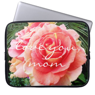 """Love You Mom"" Quote Soft Pink Rose Close-up Photo Laptop Sleeve"
