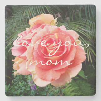 """""""Love You Mom"""" Quote Soft Pink Rose Close-up Photo Stone Coaster"""