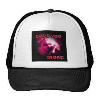 Love You Mom red rose design Trucker Hats
