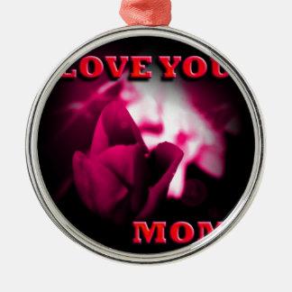 Love You Mom red rose design Ornament