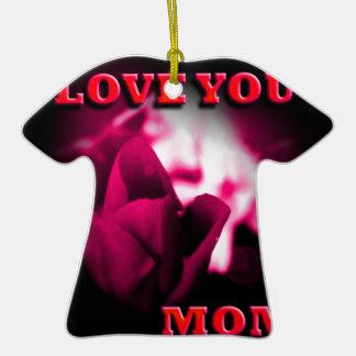 Love You Mom red rose design Christmas Ornament