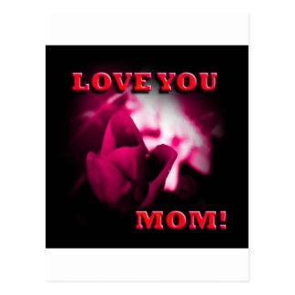 Love You Mom red rose design Postcard