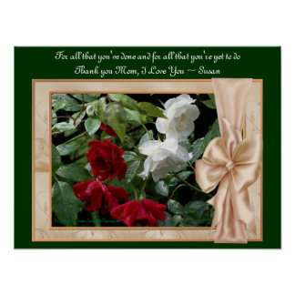 Love You Mom Red Roses Personalized Poster Print