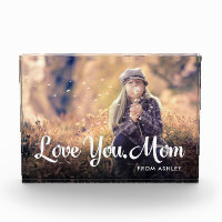 Love You Mom | Trendy White Typography and Photo Photo Block