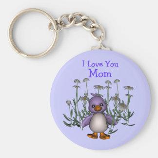 Love You Mom Whimsical Bird Flowers Keychain