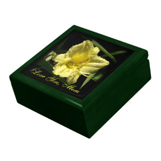 Love You Mom Yellow Daylily Jewelry Boxes