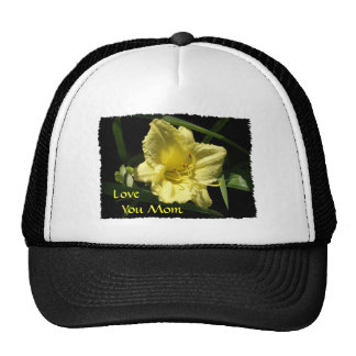 Love You Mom Yellow Daylily Mesh Hats