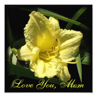 Love You Mom Yellow Daylily Mother s Day Photo Print