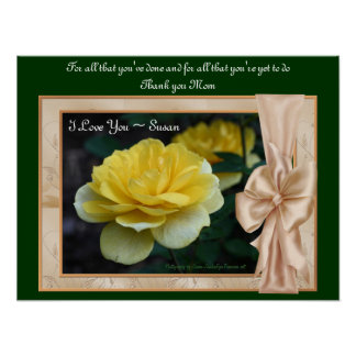 Love You Mom Yellow Rose Personalized Poster Print