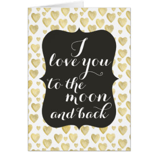 Love You Moon and Back Gold Watercolor Hearts Card