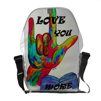 Love You More! ASL American Sign Language Messenger Bag