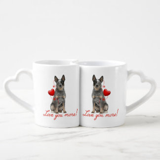 Love You More! Cattle Dog Mug Set