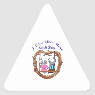 LOVE YOU MORE EACH DAY TRIANGLE STICKER