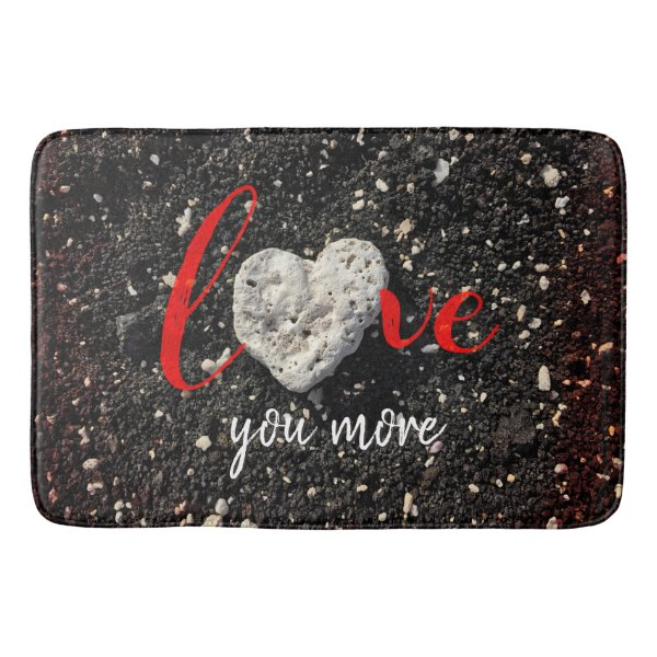 """Love You More"" Hawaii Beach and Coral Heart Photo Bathroom Mat"