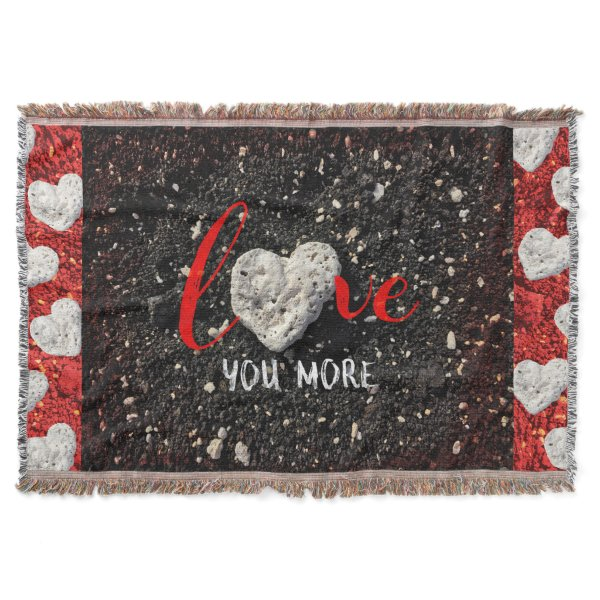 """Love You More"" Hawaii Beach and Coral Heart Photo Throw"
