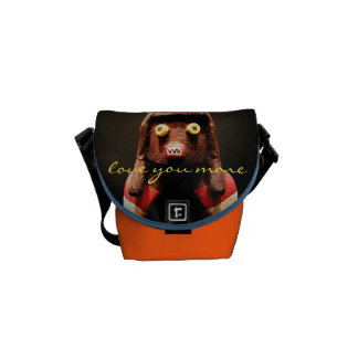 """Love You More"" Quote Cute Funny Face Photo Mini Messenger Bag"