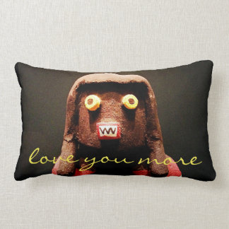 """""""Love You More"""" Quote Cute Funny Odd Face Photo Lumbar Pillow"""