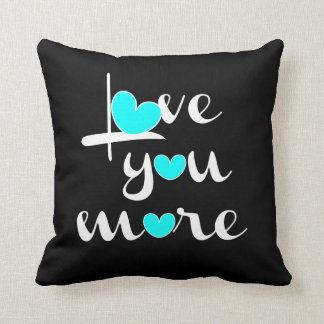 Love You More, White Aqua Hearts on Black Throw Pillow