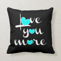 Love You More, White Aqua Hearts on Black Throw Pillows