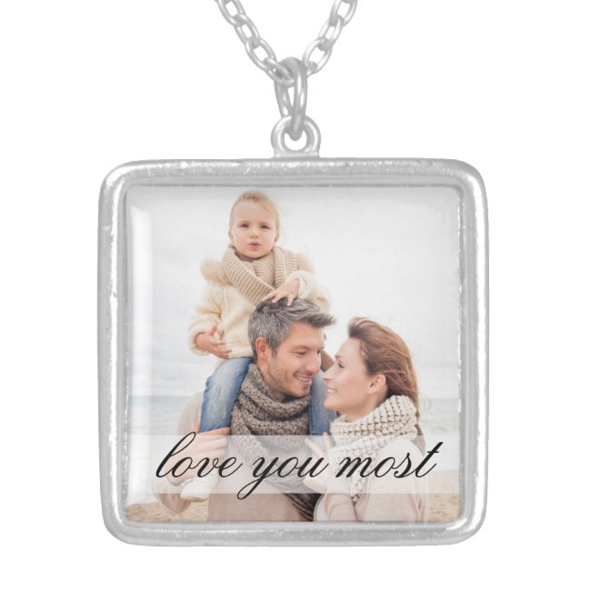 Love You Most Family Photo Necklace