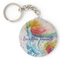 Love You Name Rainbow Unicorn Watercolour Key Ring