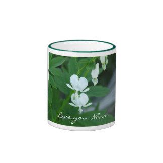 Love you Nana/White Bleeding Heart Flowers Ringer Coffee Mug