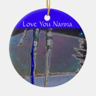 Love You Nanna Ornaments Blue Icicles Sunset Sky