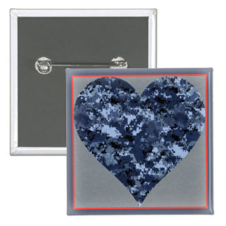 Love You Navy Camo Heart Valentine Button