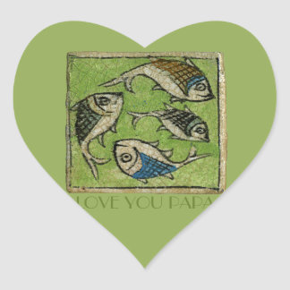 Love You Papa Heart Sticker